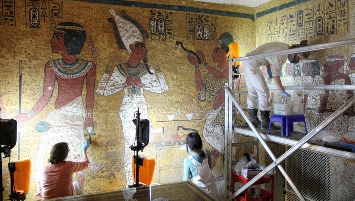 Wall paintings conservation work being conducted in the burial chamber of Tutankhamun's tomb in the spring 2016.
