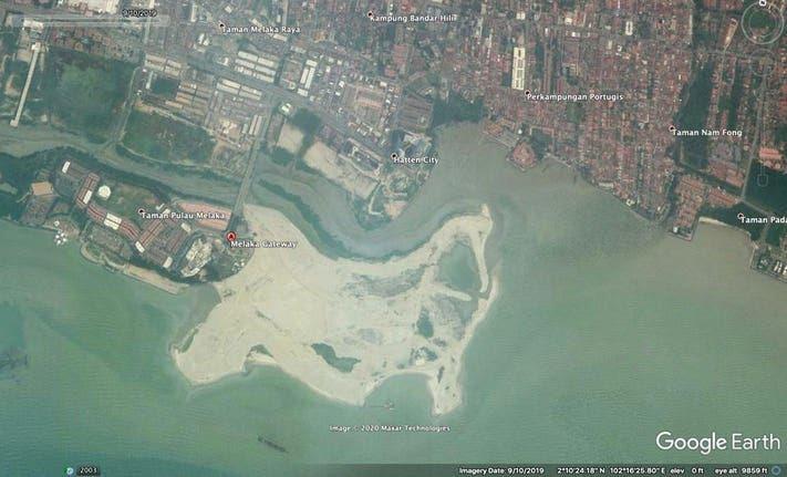 Google Earth screenshot of Melaka Gateway in September 2019.