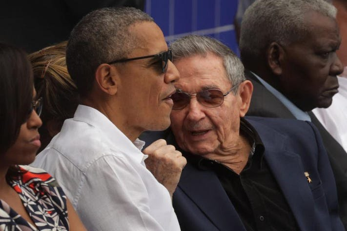 U.S. President Barack Obama and Cuban President Raul Castro at an exposition baseball game in Havana, Cuba. (Chip Somodevilla/Getty Images)