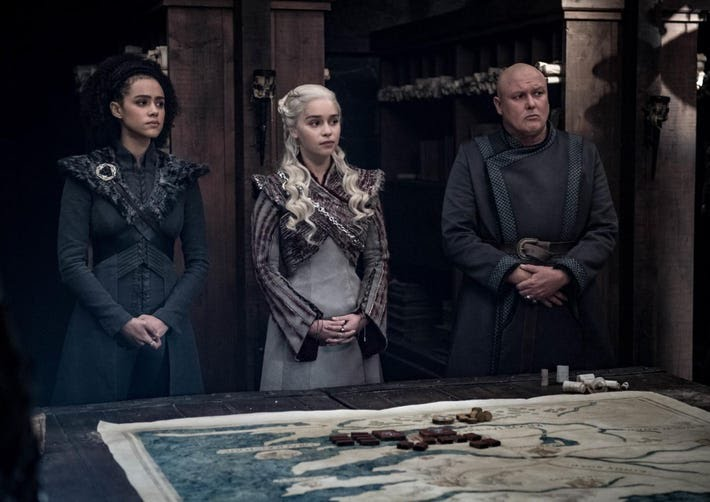 Missandei, Dany and Varys.
