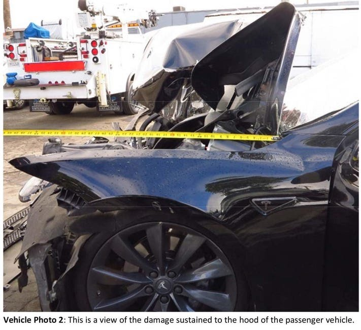 The Tesla Model S after hitting the fire truck. The driver walked away, fortunately